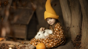 Cap Child Girl Pumpkin Rabbit Trunk 2304x1536 wallpaper