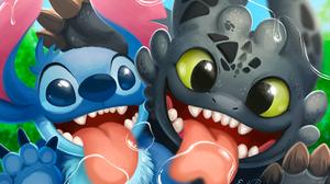 How To Train Your Dragon Lilo Amp Stitch Stitch Lilo Amp Stitch Toothless How To Train Your Dragon 2400x1600 Wallpaper