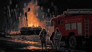 Creepy Creature Giant Skeleton Fire Night Fire Fighter Boris Groh 1920x1372 Wallpaper