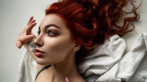 Women Redhead Studio Women Indoors Face Portrait 2560x1707 Wallpaper