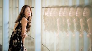 Reflection Model Brunette Long Hair Lipstick Dress 4500x3002 Wallpaper
