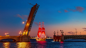 Ship Water Bridge St Petersburg Russia Evening Lights River Sailing Ship Open 1920x1080 Wallpaper