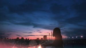 Anime Anime Girls Sky Clouds City Lights Sunset Long Hair Sparkles Looking Away HuashiJW 4872x3000 Wallpaper