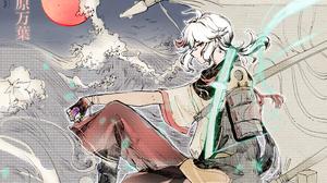 Genshin Impact Kaedehara Kazuha Genshin Impact Japanese Art Anime Anime Girls Waves Sun Sitting 3300x2334 wallpaper