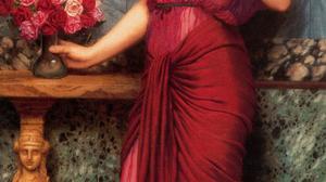 Artwork Painting Greek Greece Classic Art Red Dress Red Women Flowers 1200x2507 Wallpaper