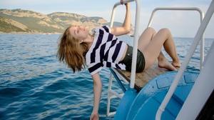 Boat Model Women Blonde Shorts Sea Barefoot Island Women Outdoors Closed Eyes T Shirt 2560x1707 Wallpaper