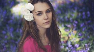 Blue Eyes Brunette Depth Of Field Girl Model Rose Woman 2048x1367 wallpaper