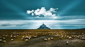 Sheep France Sky Landscape 2048x1193 Wallpaper