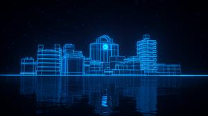 Blue City Cyberpunk Reflection 1920x1080 Wallpaper