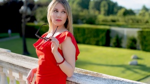 Blonde Depth Of Field Girl Model Red Dress Woman 3000x2000 Wallpaper