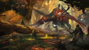 Creature Fantasy Forest Hunting Warrior 2048x1106 Wallpaper