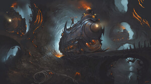 Cave Demon Locomotive Skeleton 1920x1080 wallpaper