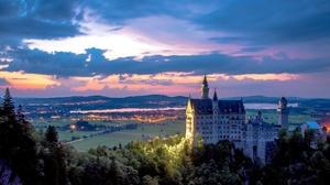 Building Castle Cloud Germany Landscape Neuschwanstein Castle Sunset 2402x1291 Wallpaper