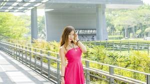 Woman Model Girl Depth Of Field Brunette Necklace Pink Dress 2048x1365 Wallpaper