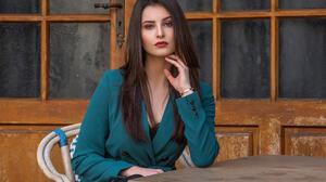 Looking At Viewer Hand On Face Women Outdoors Green Dress Red Lipstick 4096x2733 wallpaper