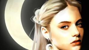 Blonde Girl Moon Night Painting Portrait 1920x1327 Wallpaper