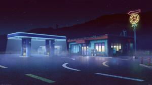 Bogdan MB0sco Digital Art Gas Stations Camper Van Cafe Coffee Road Night Starry Night Windmill 1920x1080 Wallpaper