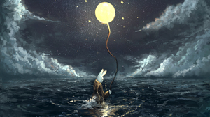 Animal Balloon Cloud Moon Ocean Rabbit Stars 2256x1520 Wallpaper
