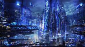City Cyberpunk Cityscape 1920x1200 Wallpaper
