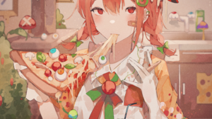 Umemaro Anime Anime Girls Food Anime Girls Eating Pizza 2508x3152 Wallpaper