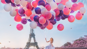 Balloon Blonde Dress Eiffel Tower France Girl Model Mood Paris White Dress Woman 7952x5758 Wallpaper
