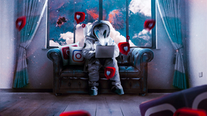 Astronaut Laptop Sofa Space Suit 1920x1494 Wallpaper