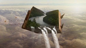 Nature Waterfall Books Hot Air Balloons Landscape River Forest Photoshop 1920x1080 Wallpaper