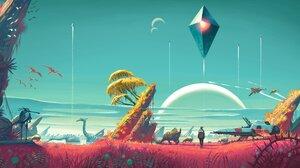 No Mans Sky Planet Moon Tree Bark Birds Space Spaceship 8250x4672 Wallpaper