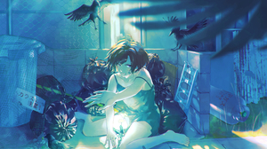 Anime Anime Girls Birds Crow Trash Dark Hair Short Hair Dandelion Wireframe Blue Eyes Dress Cylinder 3600x2400 Wallpaper