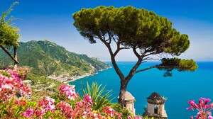 Amalfi Coastline Flower Horizon Italy Ocean Pink Flower Sea Tree 3840x2400 Wallpaper