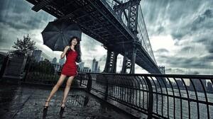 Women Model Brunette Red Dress High Heels Umbrella Rain Women Outdoors Manhattan Bridge 2048x1365 Wallpaper
