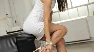 Women Women Indoors Legs White Dress Leg Up Long Hair Dark Hair Russian Women 1280x1920 Wallpaper