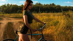 Women Bicycle Sky Clouds Women Outdoors Crop Top Belt Black Belt Long Hair Women With Bicycles Camou 2048x1421 Wallpaper