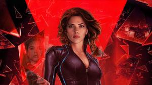 Scarlett Johansson Black Widow Actress Red Background Marvel Cinematic Universe Marvel Comics 4K 3840x2160 wallpaper