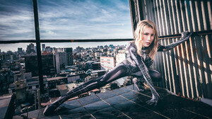 Asian Women Model Cosplay Blonde Dyed Hair Spider Woman Spider Woman Looking At Viewer Costumes Span 2048x1366 wallpaper