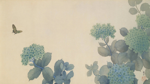 Hishida Shunso Hydrangea Butterfly Flowers Plants Nature Artwork Vintage Meiji Showa Taisho Japanese 2718x1529 Wallpaper