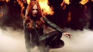 Epica Rock Music Metal Music Heavy Metal Symphonic Metal Singer Women Metalheads Fire Redhead Black  1920x1080 Wallpaper