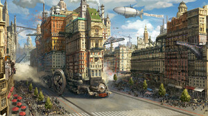 SY 37 Digital Art Landscape Fantasy Art Steampunk Cityscape Fantasy City Airships 1920x930 wallpaper