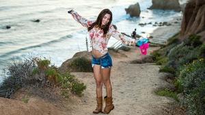 Woman Model Girl Shorts Smile Brunette 2560x1582 Wallpaper