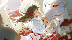 Anime Anime Girls Wolf Brunette Long Hair Red Eyes Flowers Petals Ribbons Poppies Sky Clouds Flower  1747x1151 Wallpaper