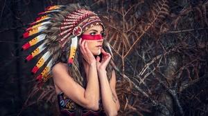 Brown Eyes Girl Headdress Native American Woman 2048x1367 Wallpaper