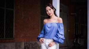 Asian Model Women Depth Of Field Long Hair Dark Hair Column Leaning Blue Blouse Bare Shoulders Pants 4562x3041 Wallpaper