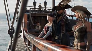 Ithius Eiros CGi Render Digital Art Pirates Women Women Trio Ship Fantasy Girl Fantasy Art 1920x1080 Wallpaper