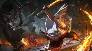 Blood Fire Katana Kyojuro Rengoku Warrior 1920x1240 Wallpaper