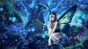Fairy Flower Forest Girl Tree Wings Woman 1920x1080 wallpaper