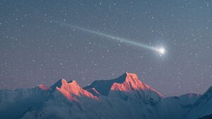 Landscape Mountains Snowy Mountain Stars Shooting Stars Portrait Display 1638x2048 Wallpaper