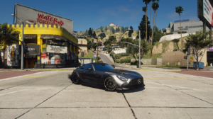 Grand Theft Auto V Mercedes AMG GT3 PC Gaming Grand Theft Auto Video Games Black Cars Car Vehicle 1920x1080 Wallpaper