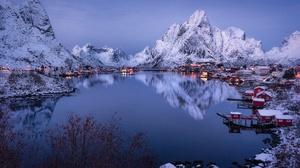 Village Mountain Reflection Norway Fjord Lofoten Islands 7360x4891 Wallpaper