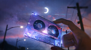 Artwork Tape Moon Night Space Stars 1920x1080 Wallpaper