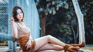 Asian Women Model Heels Legs Looking Away Urban Fence Women Outdoors Sitting 2560x1708 Wallpaper